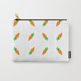 Hand painted green orange watercolor carrots pattern Carry-All Pouch