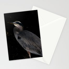 Heron at night Stationery Cards