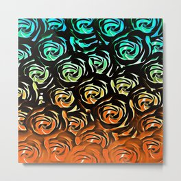 rose pattern texture abstract background in blue green orange Metal Print