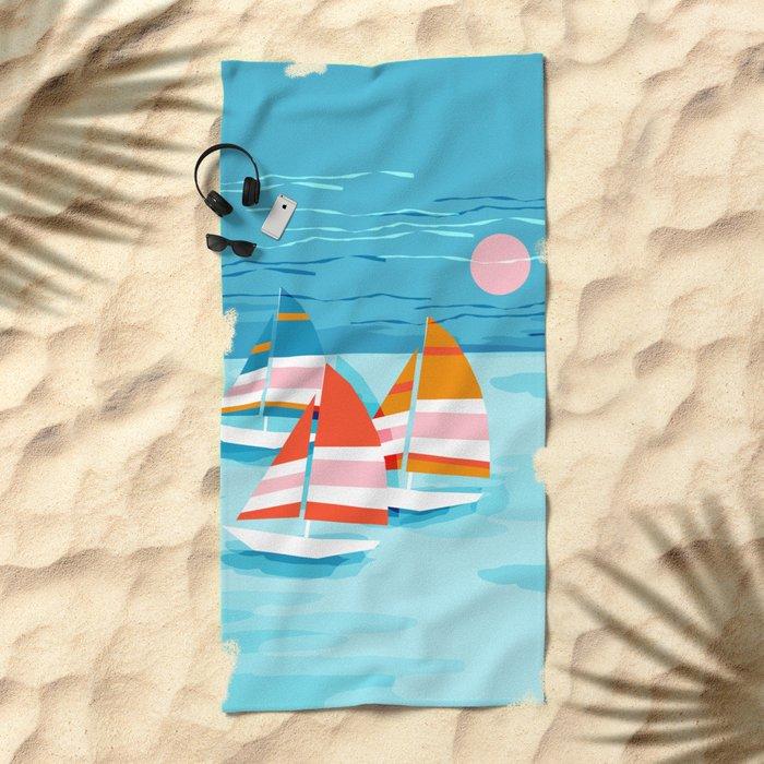 Popin - memphis sports retro throwback neon sailing sailboat cool rad gnarly trendy watersports Beach Towel