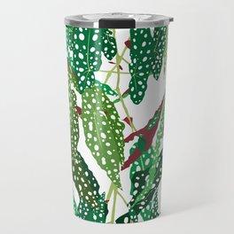 Polka Dot Begonia Leaves in White Travel Mug
