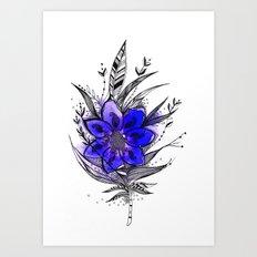Blue Flower Feather Art Print