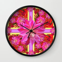 Abstract  Fuchsia Pink-Yellow Tropical Red Floral Design Wall Clock