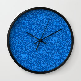 Blue Tudor Damask Wall Clock