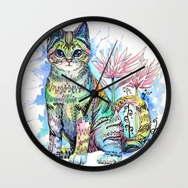 Rainbow Cat with water lily Wall Clock