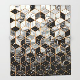 Marble Cubes - Black and White Throw Blanket