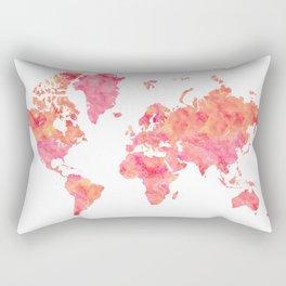 """Hot pink and orange watercolor world map """"Tatiana"""" Rectangular Pillow"""