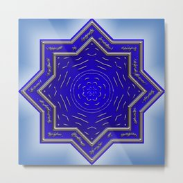 Wonderful Mandala Star, blue Metal Print