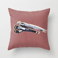 mass effect Throw Pillows featuring Mass Effect by Simon Alenius