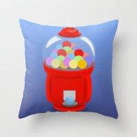 gumball Throw Pillows featuring Gumball Machine by elledeegee