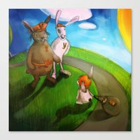 rabbits Canvas Prints featuring Rabbits by András Balogh