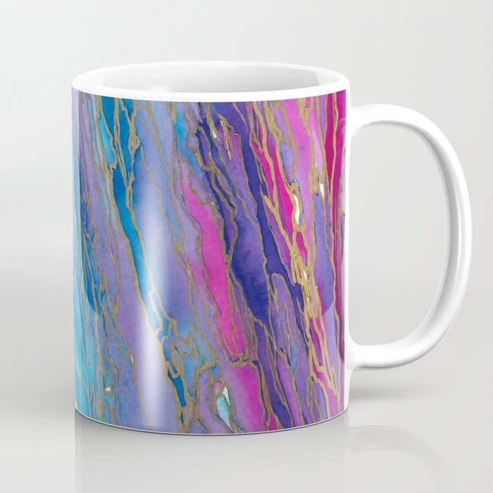 AGATE MAGIC PinkAqua Red Lavender, Marble Geode Natural Stone Inspired Watercolor Abstract Painting Coffee Mug