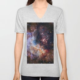 picture of star by hubble: celestial firework Unisex V-Neck