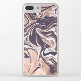 Liquid Rose Gold Violet and Marble Clear iPhone Case