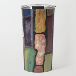 Colorful Abstract art turquoise, red green mix with gold dust Travel Mug