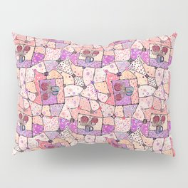 Vintage Grandma Quilt, Textured Watercolor Lavender Purple Flower Quilting Pattern Illustration Pillow Sham
