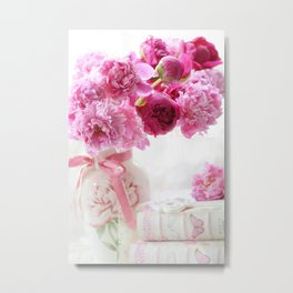 Romantic Pink and Red Peonies Metal Print