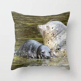 Harbor Seal Sweetness Throw Pillow