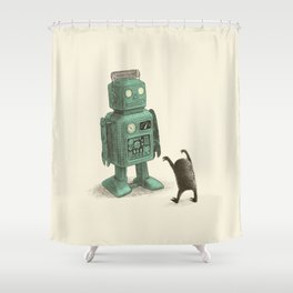 Robot Vs Alien Shower Curtain