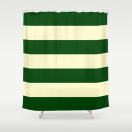 Dark Emerald Green and Cream Large Stripes Shower Curtain
