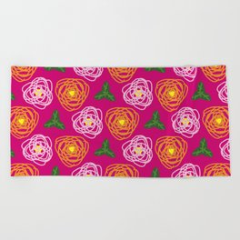 Bright pink floral Beach Towel