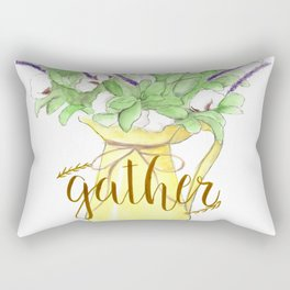 Watercolor painting Yellow vase of purple flowers, Gather calligraphy quote Rectangular Pillow