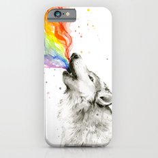 Wolf Rainbow Watercolor Howling Animal Whimsical Animals iPhone 6s Slim Case