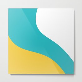 Simple Waves - Turquoise and Yellow Metal Print