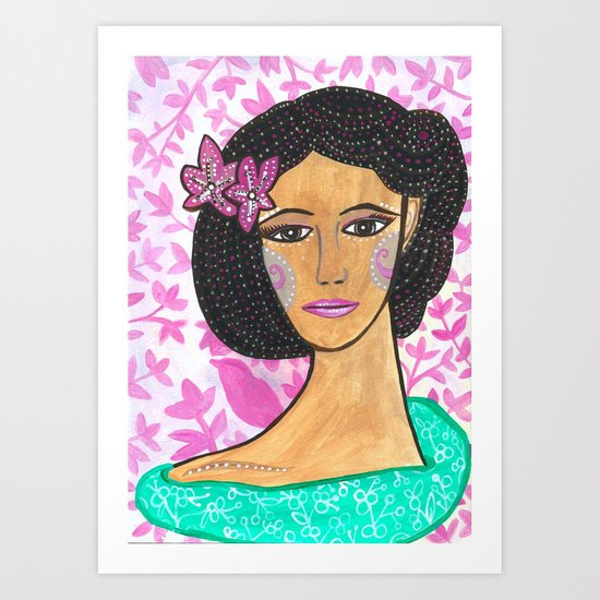 She wore Flowers In Her Hair Art Print