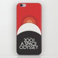 2001 a space odyssey iPhone & iPod Skins featuring 2001 A Space Odyssey - Stanley Kubrick Poster, Red Version by Stefanoreves