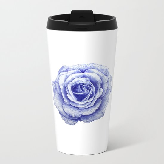 Ballpoint Blue Rose Metal Travel Mug