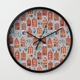 Charming Dutch Houses Wall Clock