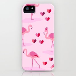 Pink Flamingos in Love pattern iPhone Case