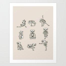Skeleton Pug Yoga Art Print