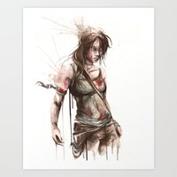 megan lara Art Prints featuring Lara by Alonzo Canto