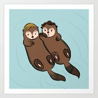 otters Art Prints featuring erie otters by omelet