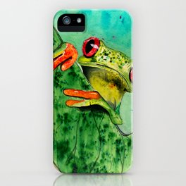Watercolor Tree Frog iPhone Case