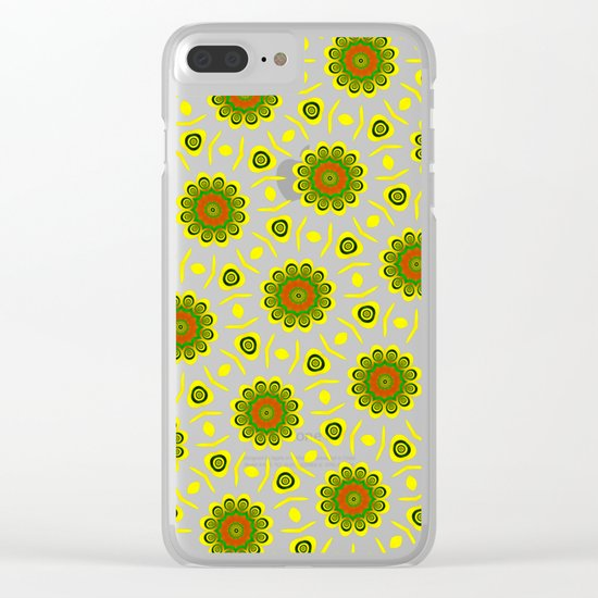 Cute ethnic floral pattern Clear iPhone Case