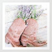 Lavender  in Cowboy Boots Art Print