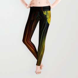 Rainbow Rain Glitches - Abstract Pixel Art Leggings