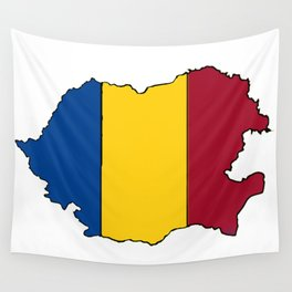 Romania Map with Romanian Flag Wall Tapestry