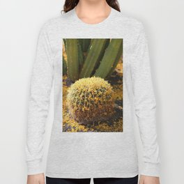 Barrel Cactus Covered In Butter Yellow Palo Brea Blossoms in Portrait Long Sleeve T-shirt