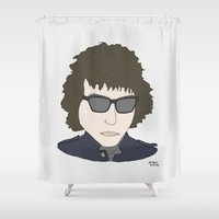 bob dylan Shower Curtains featuring Bob Dylan by Hello Small World