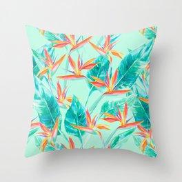 Birds Of Paradise Mint Throw Pillow