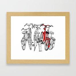 Red bike Framed Art Print