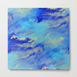 Blue & Gold Abstract Storms Metal Print
