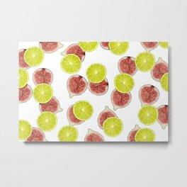 Figs Lime Fruite pattern - white Metal Print