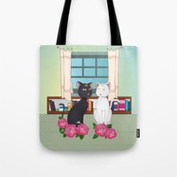 anime Tote Bags featuring Anime Cats by MyimagesArt