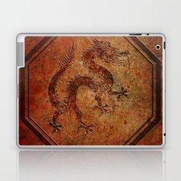Distressed Chinese Dragon In Octagon Frame Laptop & iPad Skin