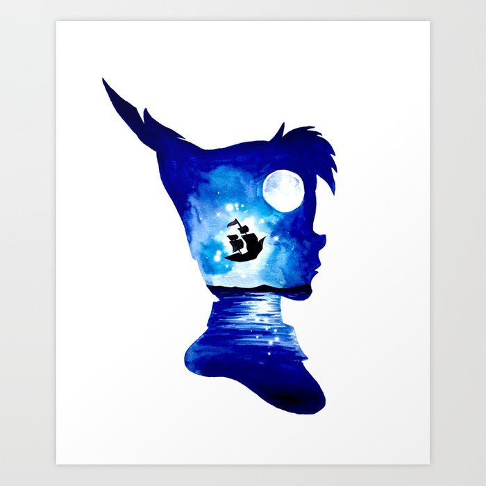 Peter pan double exposure art print